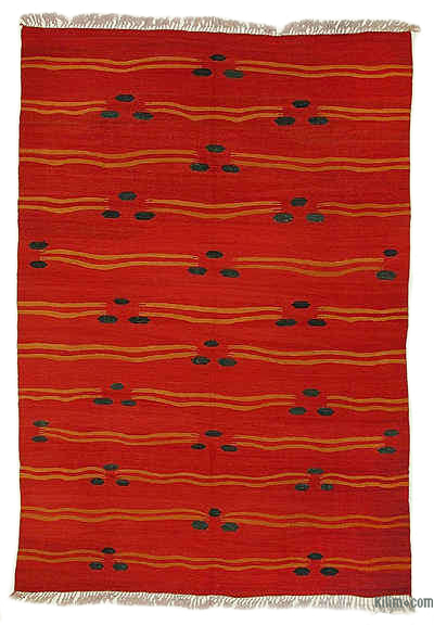"Red New Turkish Kilim Rug - 6' 8"" x 9' 7"" (80 in. x 115 in.)"