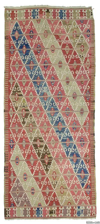 "Antique Sivrihisar Kilim - 5' 3"" x 12' 5"" (63 in. x 149 in.)"