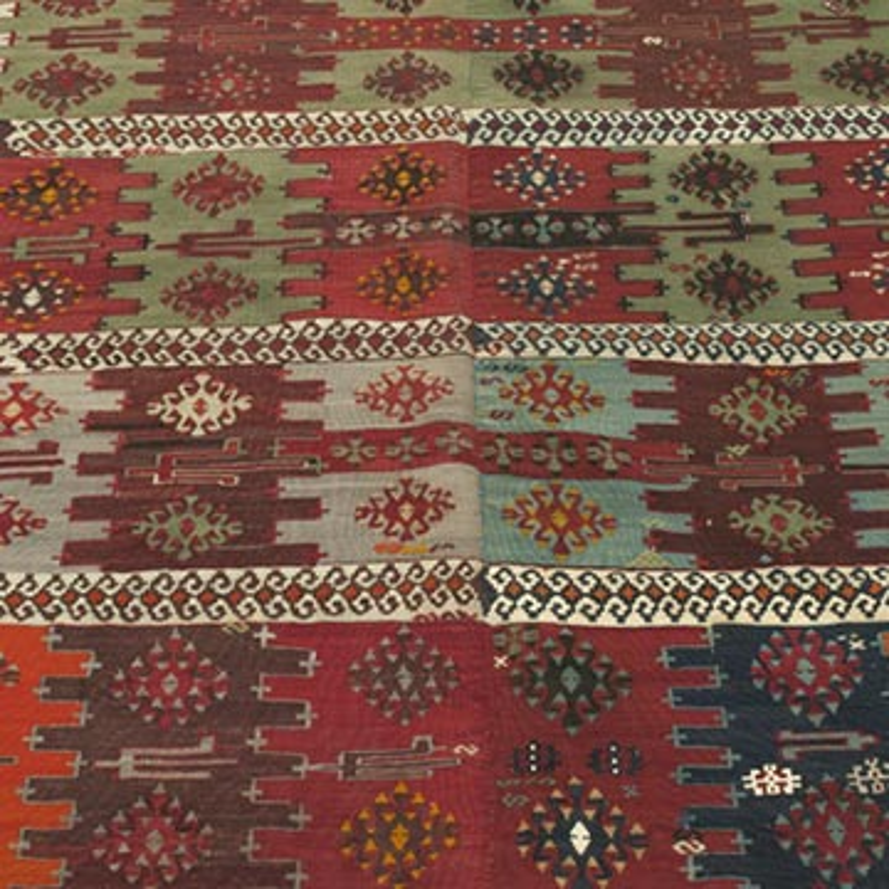 "Multicolor Antique Malatya Kilim Rug - 5'  x 8' 9"" (60 in. x 105 in.) - K0003498"