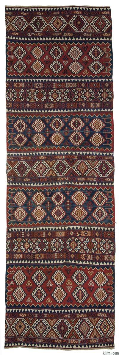 "Antique Malatya Kilim Runner - 3' 7"" x 11' 11"" (43 in. x 143 in.)"