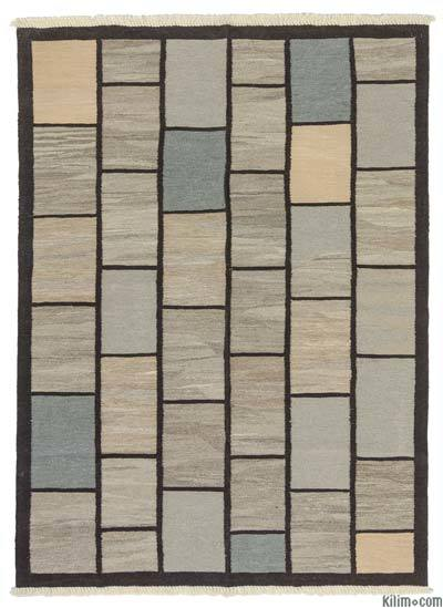 Grey, Brown New Turkish Kilim Rug