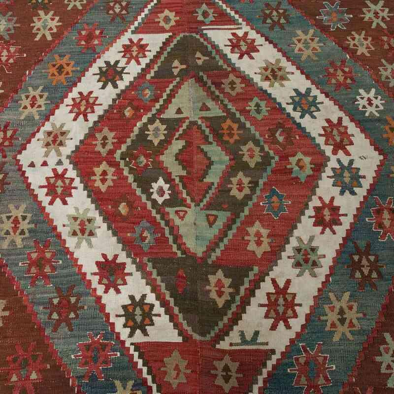 Kırmızı, Yeşil Antika Konya Kilimi - 157 cm x 365 cm - K0003981