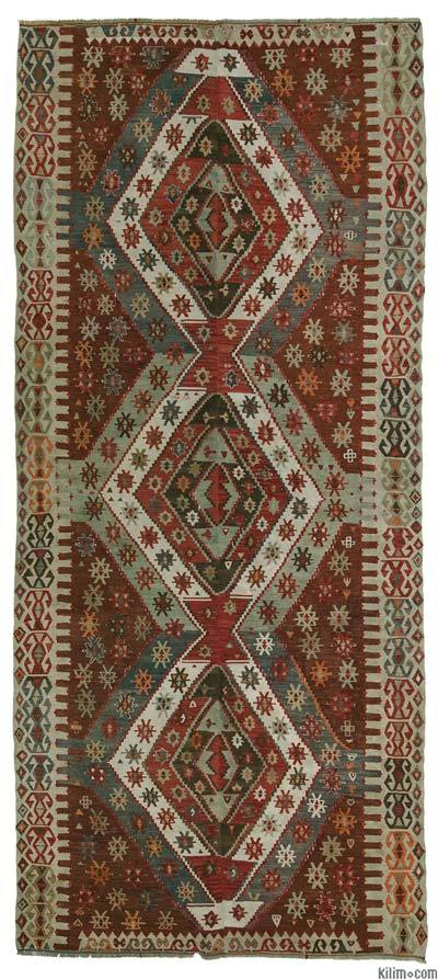 "Antique Konya Kilim - 5' 2"" x 12'  (62 in. x 144 in.)"