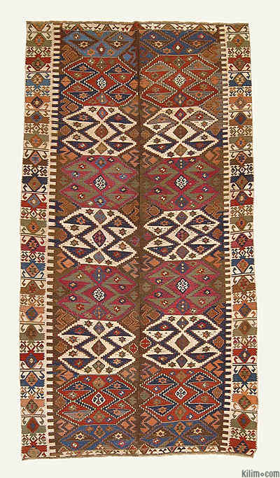 "Antique Malatya Kilim Rug - 5' 5"" x 10'  (65 in. x 120 in.)"