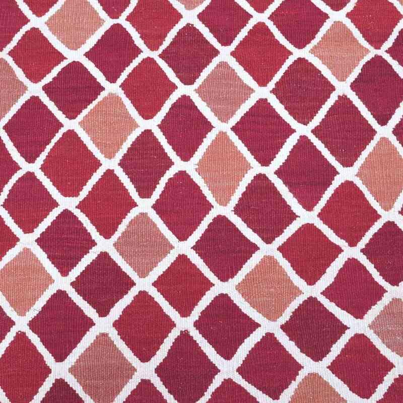 Red, Pink New Turkish Kilim Runner Rug - K0004613
