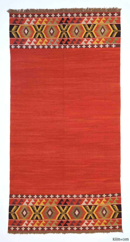 Red New Turkish Kilim Rug - K0004675