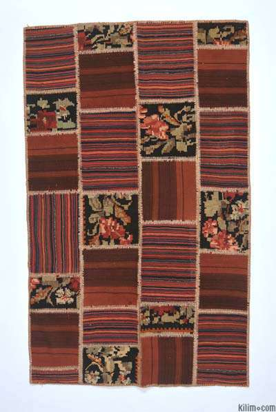 "Turkish Patchwork Kilim Rug - 4'4"" x 7'1"" (52 in. x 85 in.)"