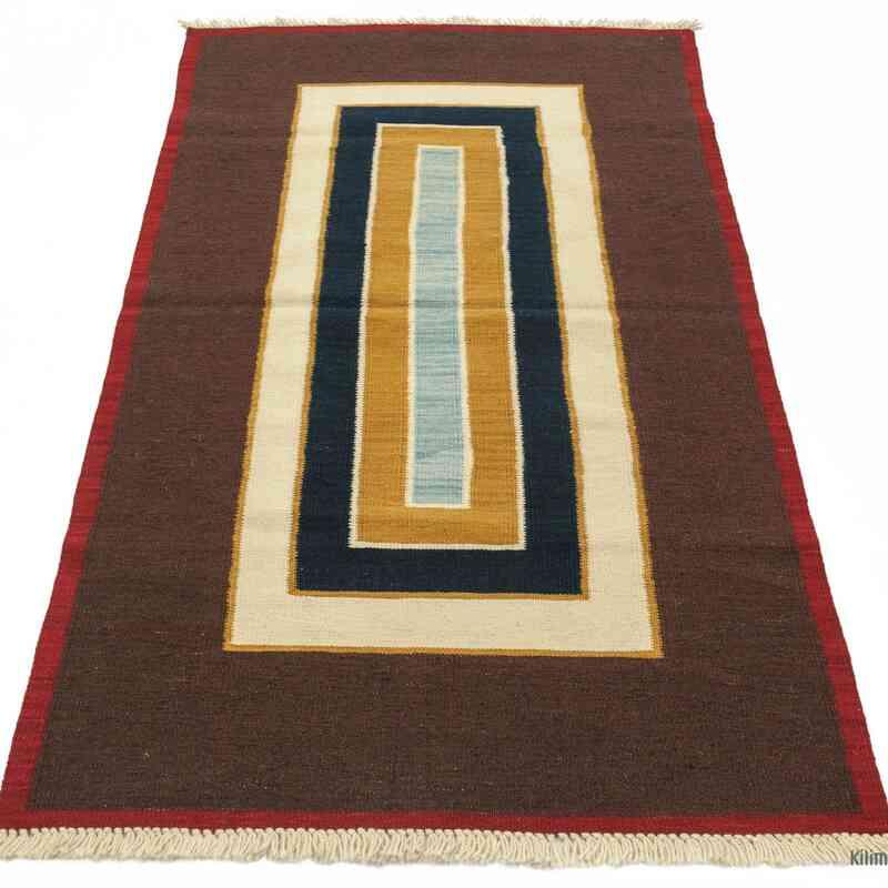Brown New Turkish Kilim Area Rug - K0004807