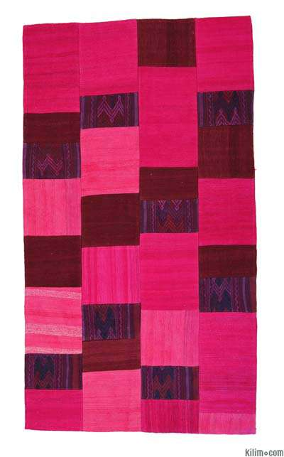 "Turkish Patchwork Kilim Rug - 3' 7"" x 6' 4"" (43 in. x 76 in.)"