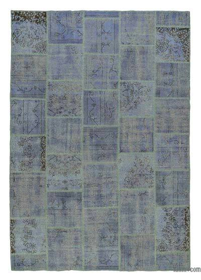 "Over-dyed Turkish Patchwork Rug - 6'7"" x 9'6"" (79 in. x 114 in.)"