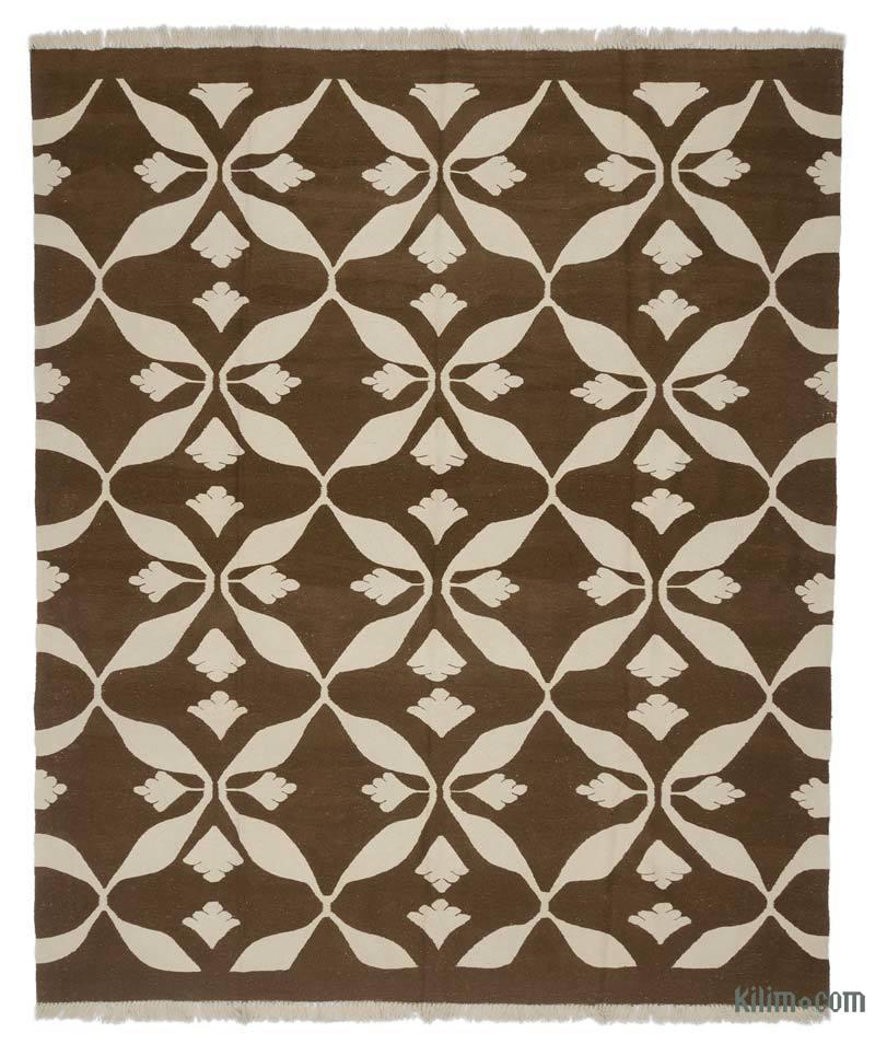 Kahverengi, Bej Yeni Kök Boya El Dokuma Kilim - 245 cm x 289 cm - K0005822