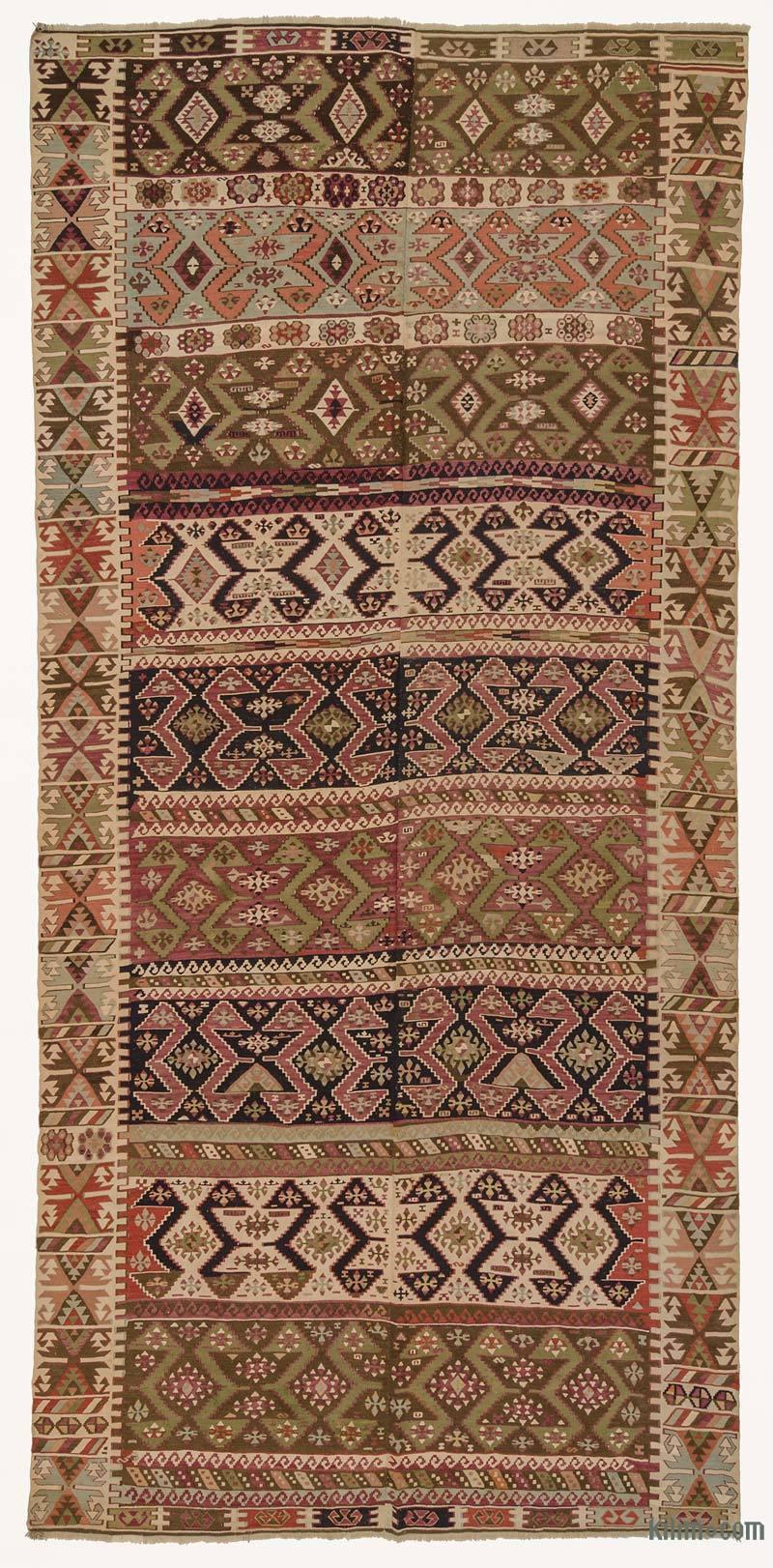 "Multicolor Antique Malatya Kilim Rug - 5' 11"" x 12' 6"" (71 in. x 150 in.) - K0005959"