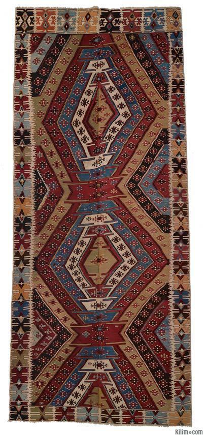 """Vintage Konya Kilim Rug - 5'7"""" x 13' (67 in. x 156 in.)"""