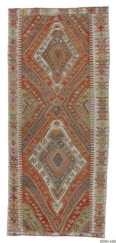 """Vintage Sivas Kilim - 4' 6"""" x 10' 6"""" (54 in. x 126 in.)"""