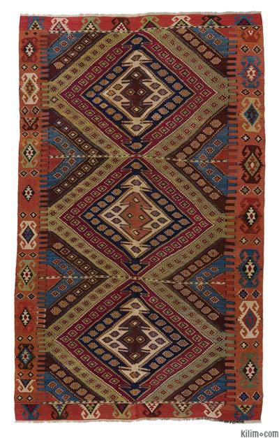 "Red, Multicolor Antique Malatya Kilim - 5' 11"" x 9'  (71 in. x 108 in.)"