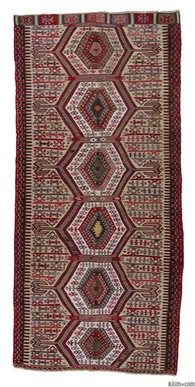 "Antique Aydin Kilim - 5' 7"" x 11' 10"" (67 in. x 142 in.)"
