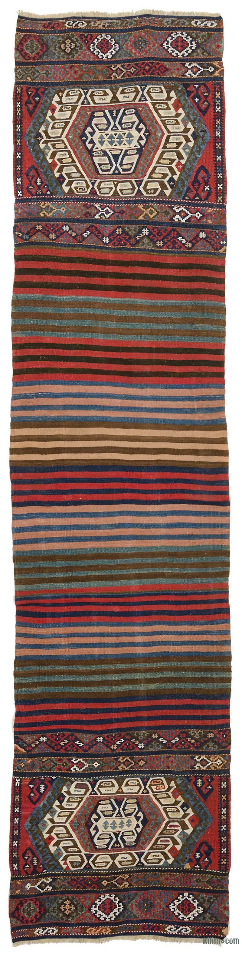 Multicolor Corredor Antiguo Malatya Kilim - 74 cm x 305 cm - K0006236