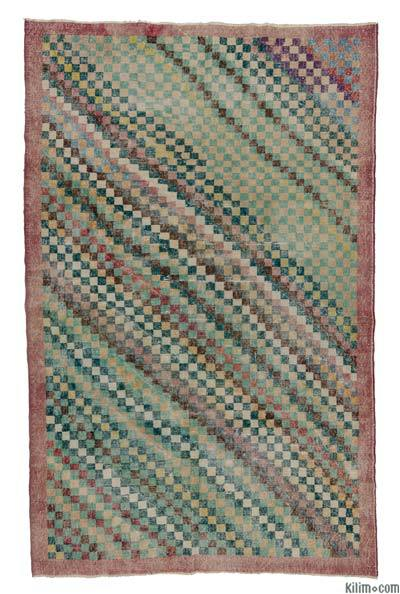 """Multicolor Vintage Turkish Hand-Knotted Rug - 5' 2"""" x 8' 1"""" (62 in. x 97 in.)"""