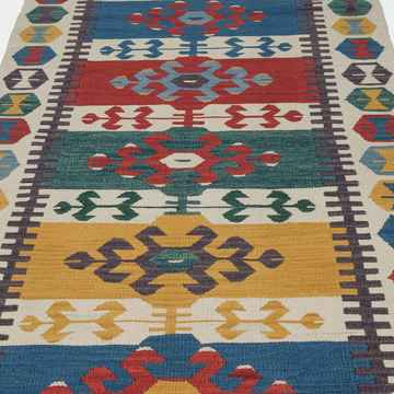 Multicolor New Turkish Kilim Runner - K0006435