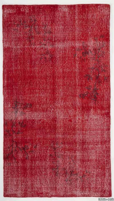 Boyalı El Dokuma Vintage Halı - 112 cm x 200 cm