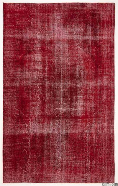 Boyalı El Dokuma Vintage Halı - 187 cm x 301 cm