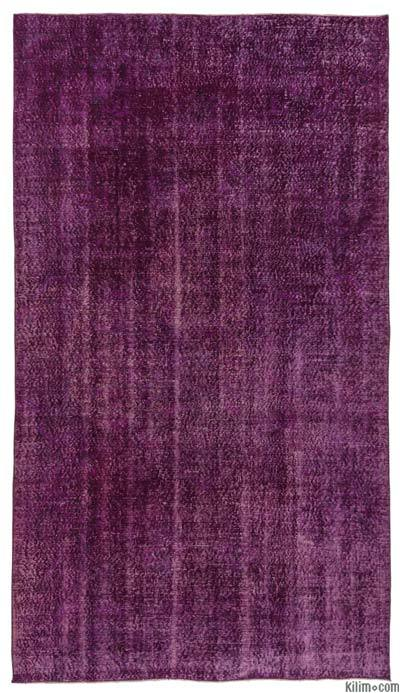 "Purple Over-dyed Turkish Vintage Rug - 5' 7"" x 9' 10"" (67 in. x 118 in.)"