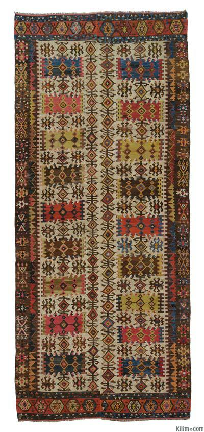 "Multicolor Antique Hotamis Kilim Rug - 6' 2"" x 13' 11"" (74 in. x 167 in.)"