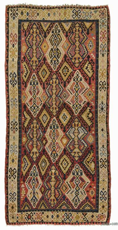 "Multicolor Antique Avar Kilim Rug - 5' 7"" x 11' 4"" (67 in. x 136 in.)"