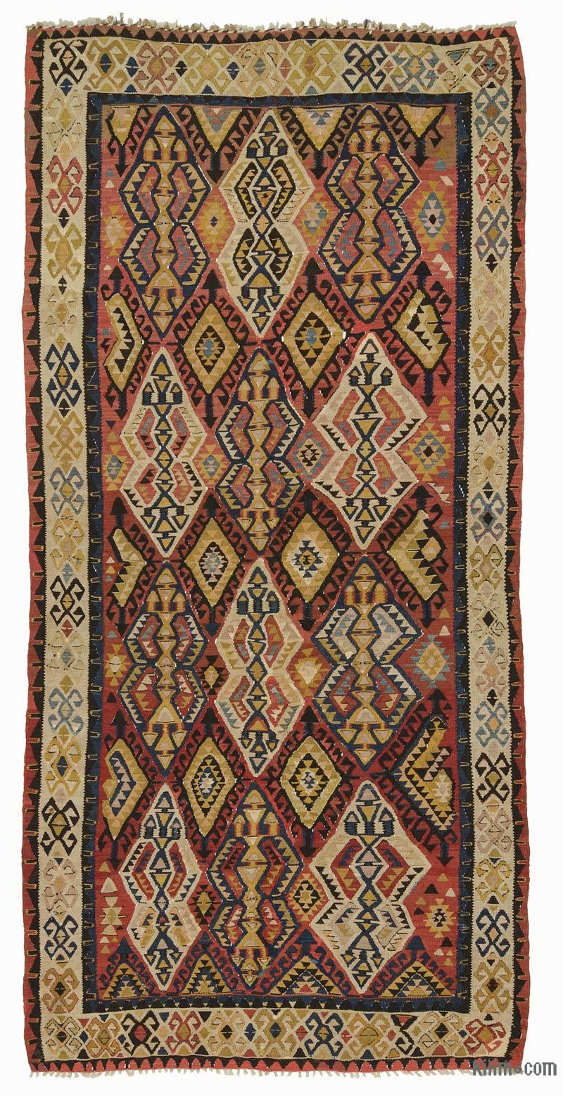 """Multicolor Antique Avar Kilim Rug - 5' 7"""" x 11' 4"""" (67 in. x 136 in.) - K0007939"""