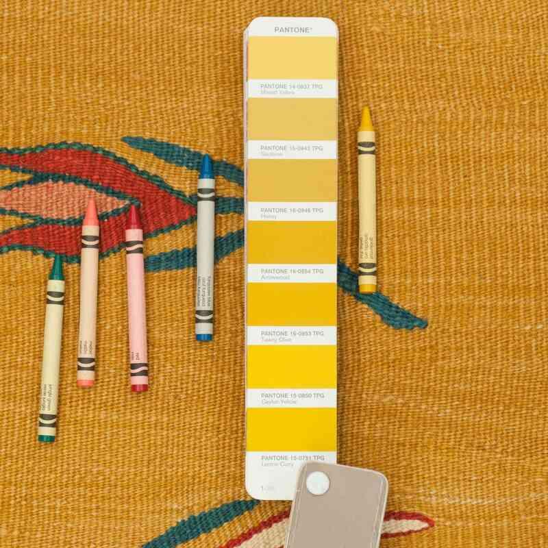 Sarı Yeni Kök Boya Kilim Yolluk - 93 cm x 340 cm - K0007967