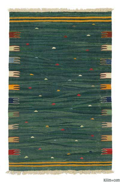 Green New Handwoven Turkish Kilim Rug