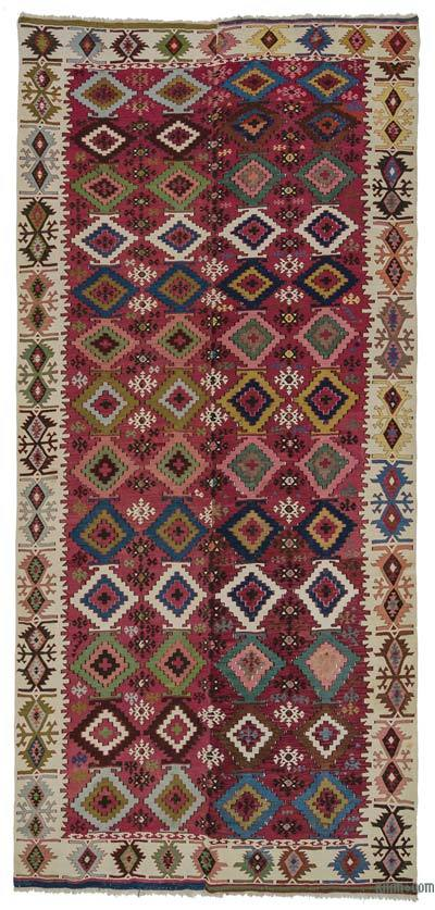 "Multicolor Antique Adana Kilim Rug - 5' 6"" x 12' 2"" (66 in. x 146 in.)"