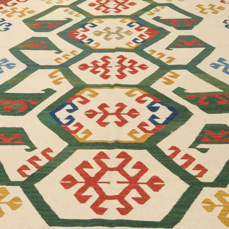 Bej, Çok Renkli Yeni Kök Boya El Dokuma Kilim - 200 cm x 290 cm - K0008655
