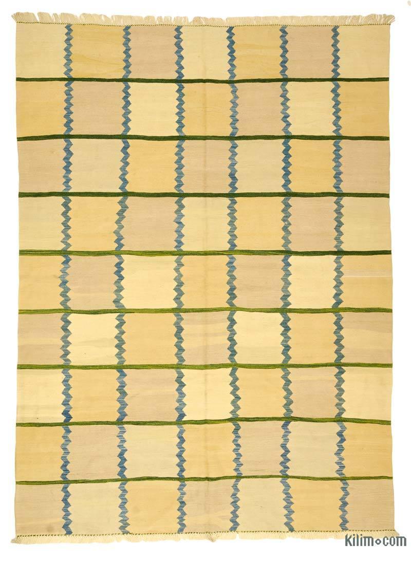 "Yellow New Handwoven Turkish Kilim Rug - 6' 8"" x 9'  (80 in. x 108 in.) - K0008658"