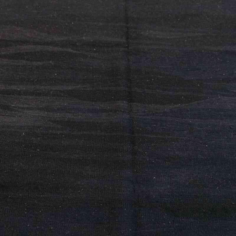 "Black New Handwoven Turkish Kilim Rug - 6' 2"" x 8' 2"" (74 in. x 98 in.) - K0008663"