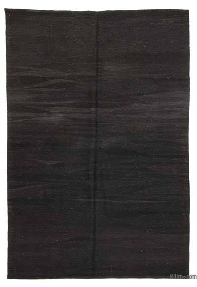 "Black New Handwoven Turkish Kilim Rug - 6' 2"" x 8' 2"" (74 in. x 98 in.)"