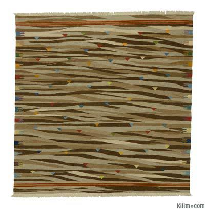 """New Handwoven Turkish Kilim Rug - 6'6"""" x 6'6"""" (78 in. x 78 in.)"""