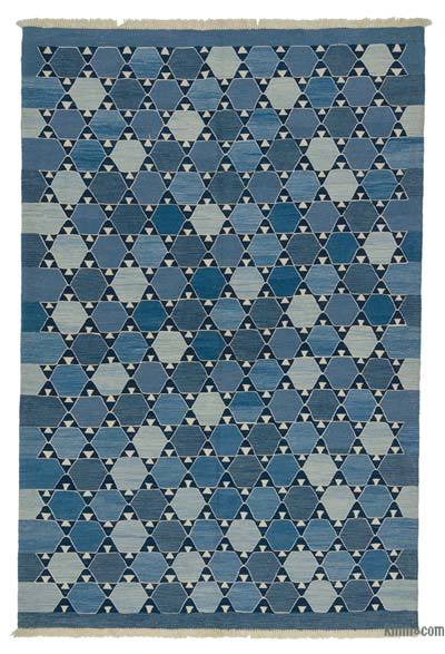 Lacivert, Açık Mavi Yeni Kök Boya El Dokuma Kilim
