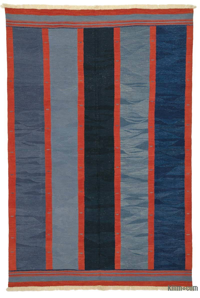Blue New Handwoven Turkish Kilim Rug - K0008681