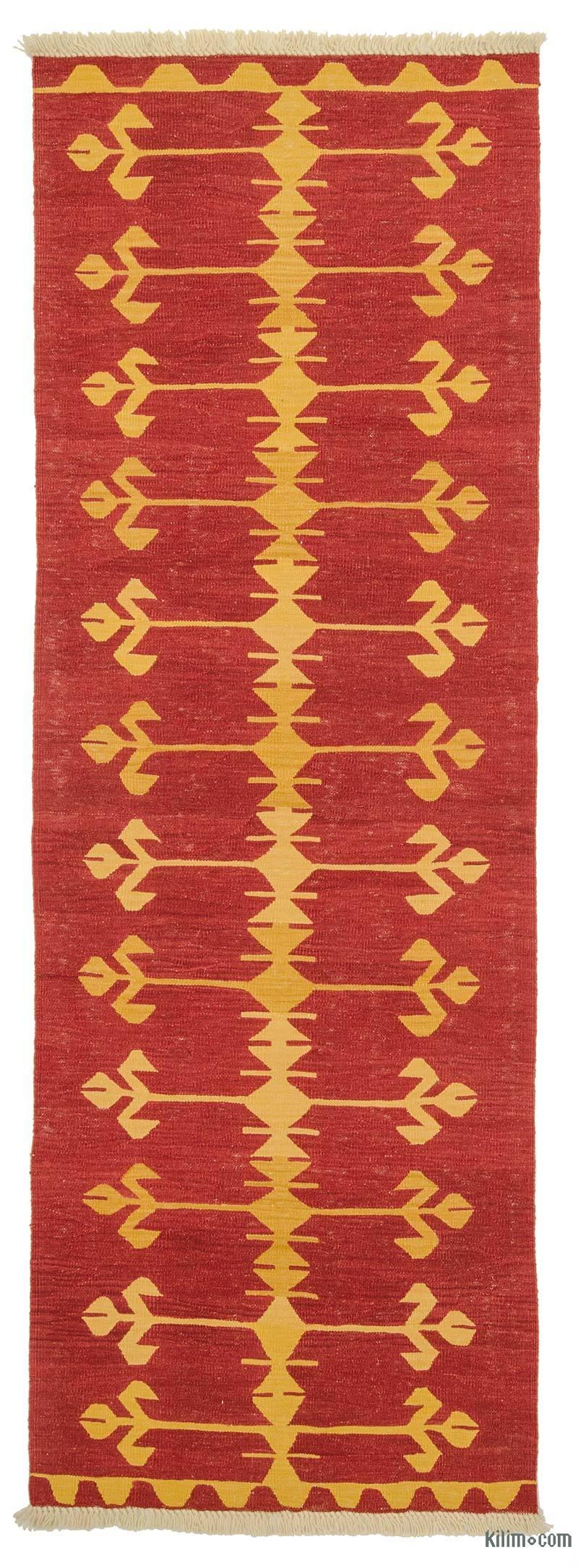 Rojo Nueva Alfombra Kilim Turca De Pasillo - K0008730