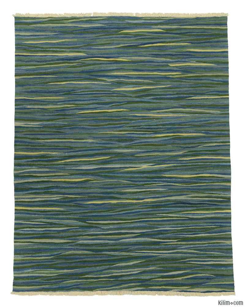 Blue, Green New Turkish Kilim Rug - K0008733