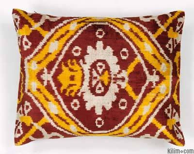 """Velvet Ikat Pillow Cover - 1' 3"""" x 1' 8"""" (15 in. x 20 in.)"""