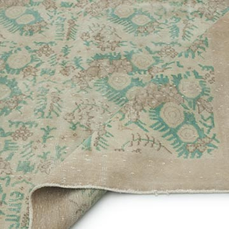 "Beige Vintage Turkish Hand-Knotted Rug - 7' 2"" x 10' 7"" (86 in. x 127 in.) - K0009149"