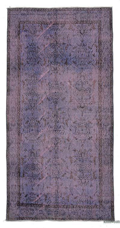 Boyalı El Dokuma Vintage Halı - 108 cm x 226 cm