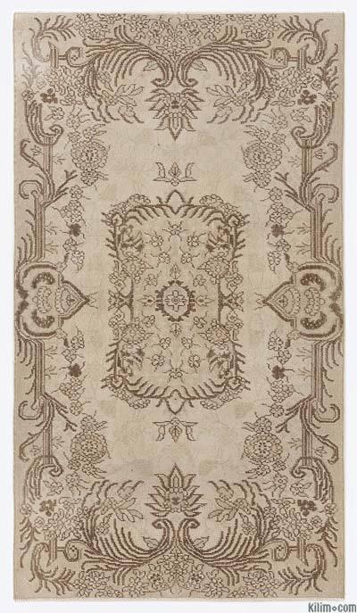 Boyalı El Dokuma Vintage Halı - 117 cm x 205 cm