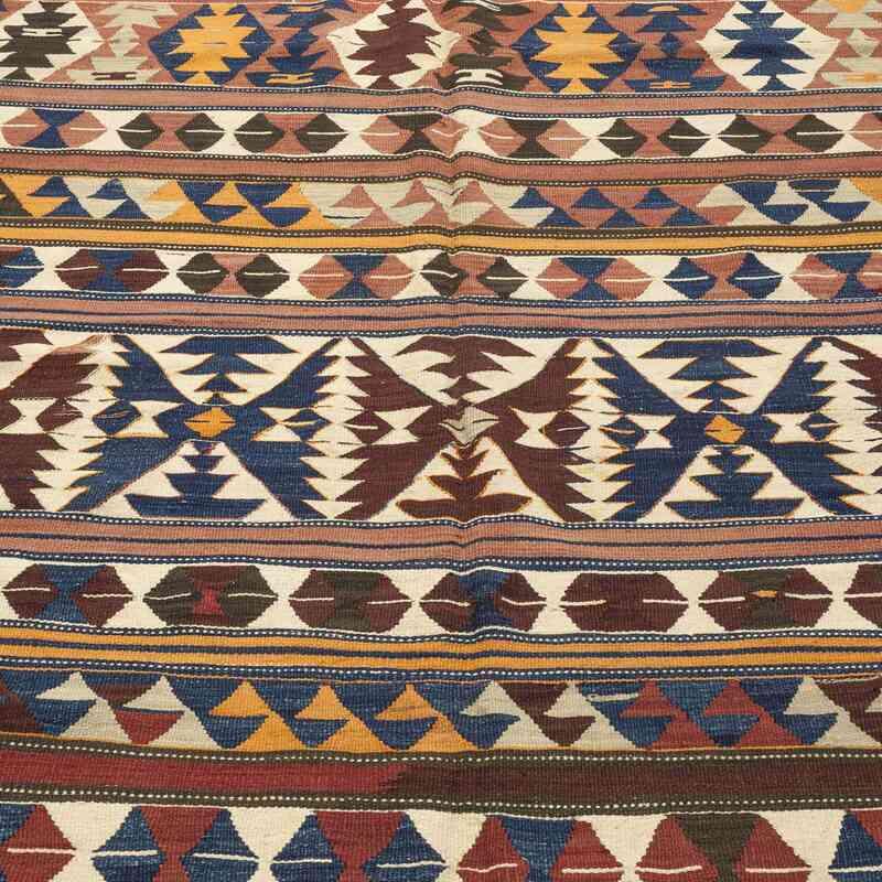 "Multicolor Antique Balikesir Kilim Rug - 5' 3"" x 8' 11"" (63 in. x 107 in.) - K0009710"