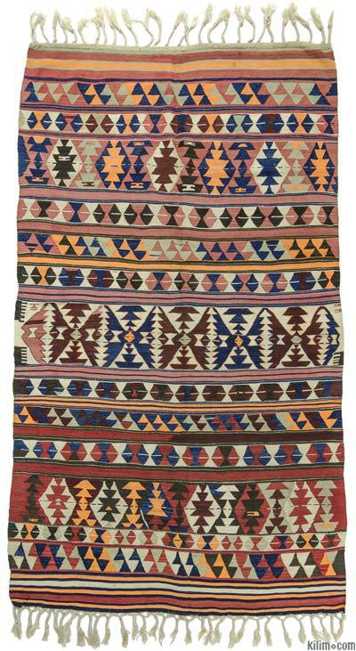 "Multicolor Antique Balikesir Kilim Rug - 5' 3"" x 8' 11"" (63 in. x 107 in.)"
