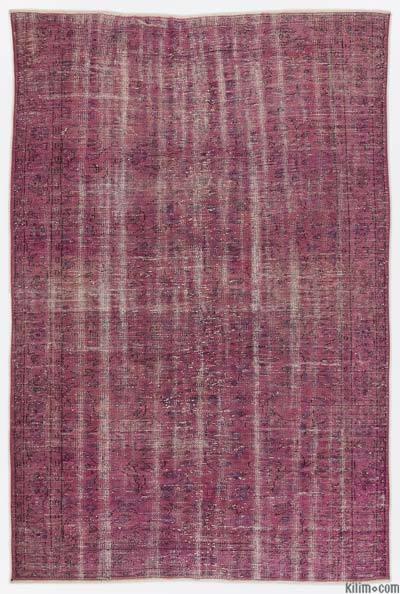Boyalı El Dokuma Vintage Halı - 185 cm x 274 cm