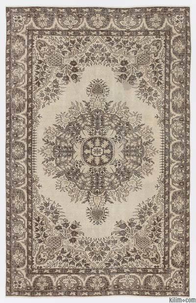 Boyalı El Dokuma Vintage Halı - 167 cm x 262 cm