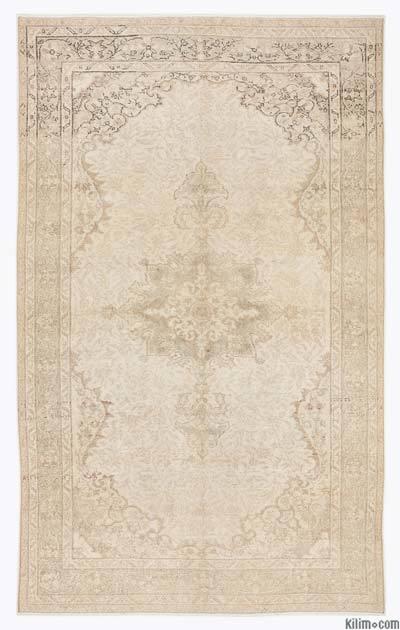 Boyalı El Dokuma Vintage Halı - 165 cm x 267 cm
